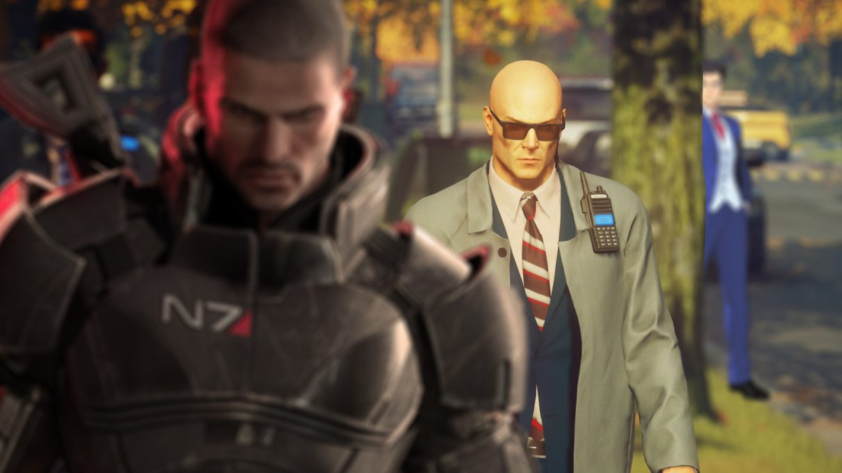 A screenshot from Hitman 3 onto which Commander Shepard from Mass Effect and Phoenix Wright from Phoenix Wright have been superimposed.