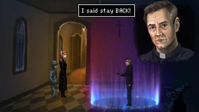 A screenshot from Blackwell Epiphany showing Rosa Blackwell and ghost Joey Mallone confronting a priest, who is standing in a magic circle