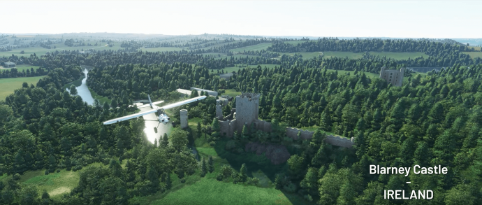 A screenshot of Blarney castle in Microsoft Flight Simulator.