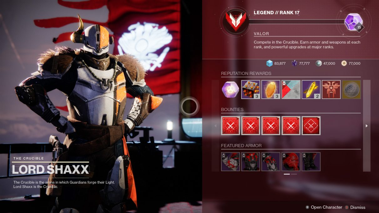 Destiny 2 screenshot showing the upcoming revamped Crucible progression system.