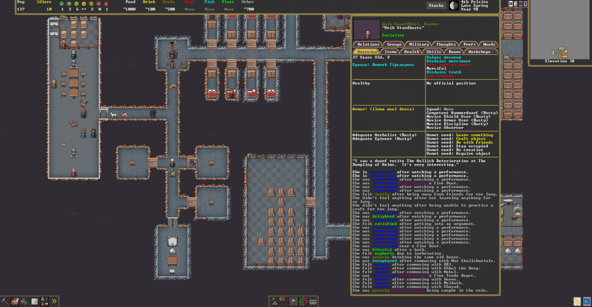 A screenshot showing a complicated UI in the new Steam version of Dwarf Fortress.