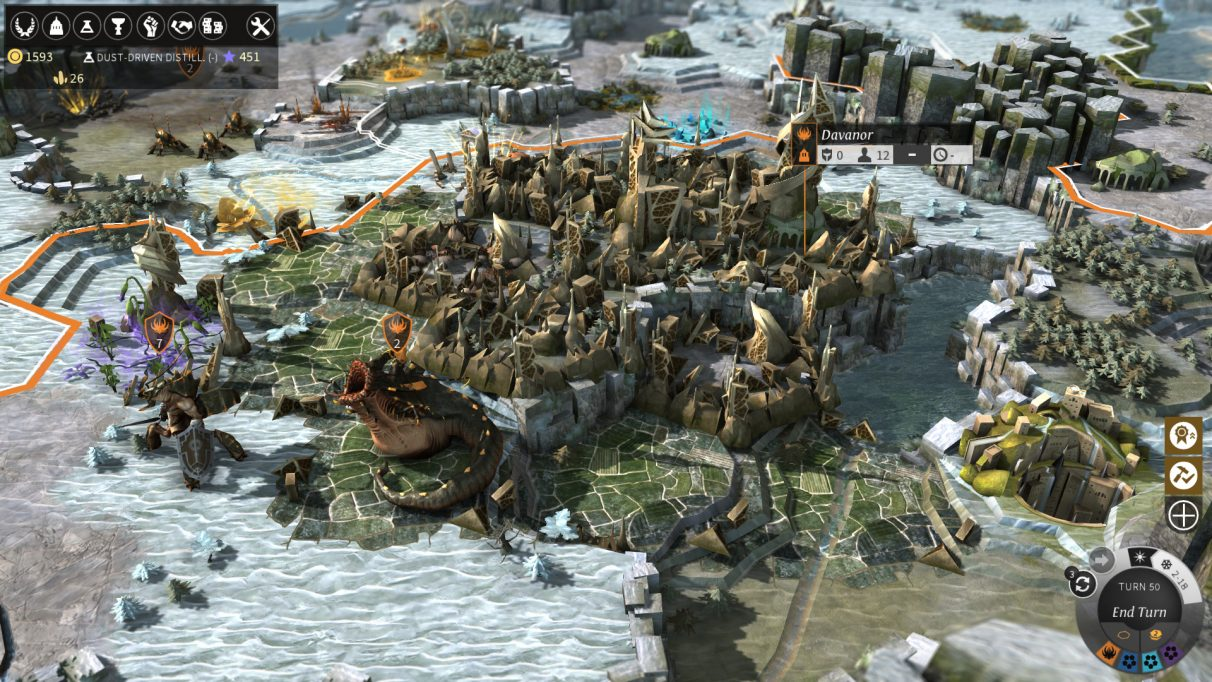 A screenshot from 4X game Endless Legend, showing a city across hex tiles.
