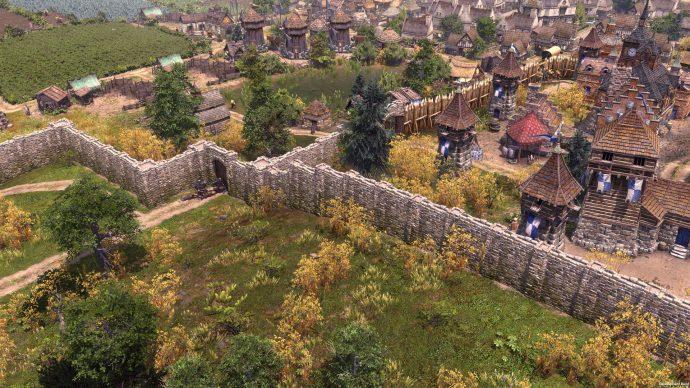 Stone walls surrounding a city.