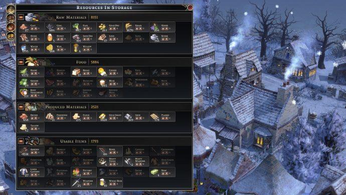 Menu sumber daya yang dikemas dengan detail tentang sumber daya apa yang dimiliki pemain dalam penyimpanan.