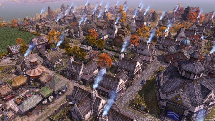 A screenshot of some buildings surrounded by bunting and autumn coloured trees, with smoke billowing from every chimney.