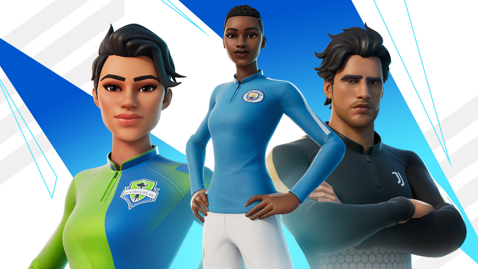 Three Fortnite characters pose in football kits to promote new outfits.