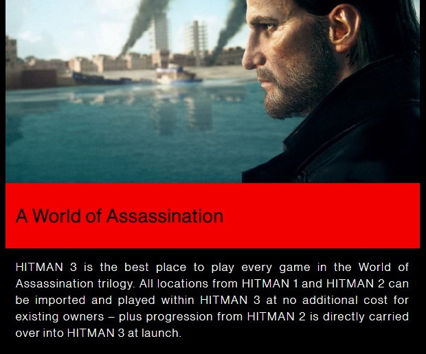 "A screenshot of the Hitman 3 official site which emphasises that locations from 1 and 2 can be imported ""at no additional cost for existing owners""."