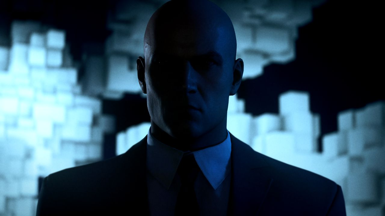 Ian Hitman silhouetted in Hitman 3 promo art.