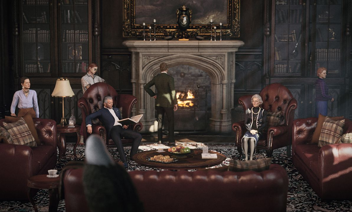 The Carlisle family arrayed around a fireplace in a sitting room, with furniture upholstered in burgundy leather.