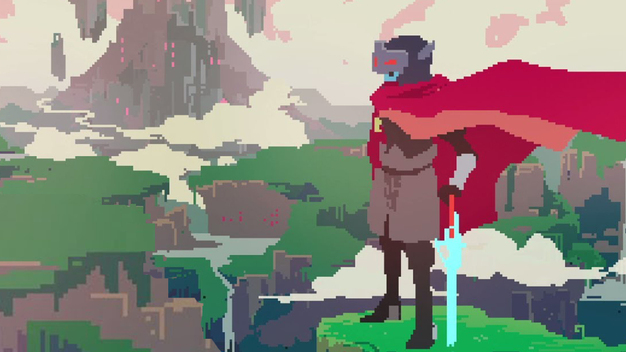 An image from a Hyper Light Drifter cutscene, showing the protagonist looking over a landscape.