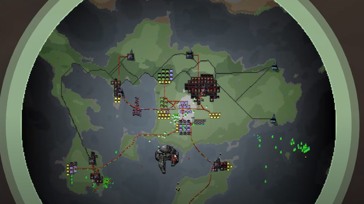 A screenshot of Spacebots, an abandoned prototype space game by Introversion, depicting a 2D planet in space with some pixel buildings on its surface.