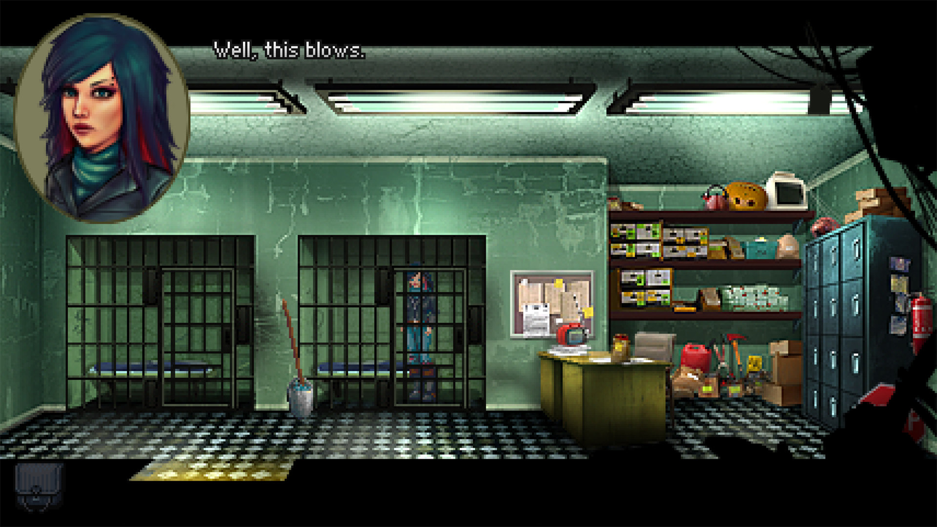 Kathy in jail in a Kathy Rain: Director's Cut screenshot.