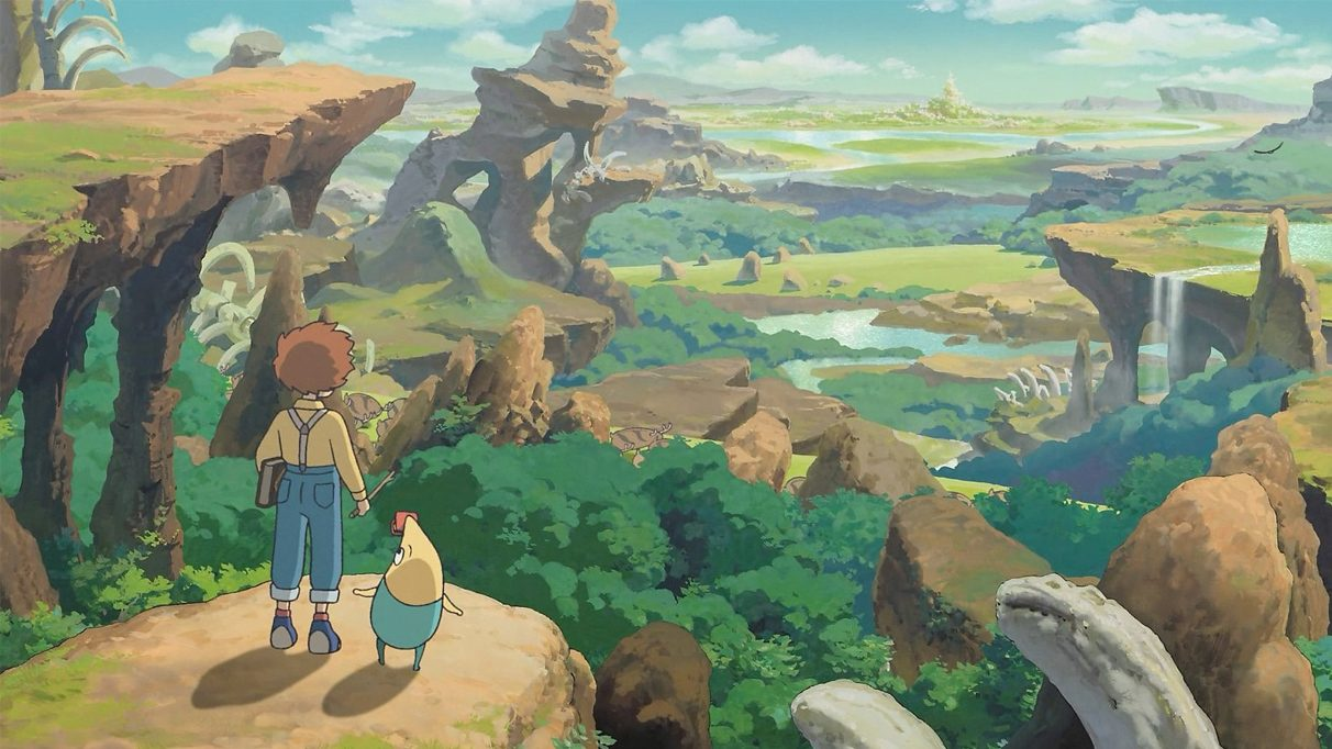An image from a Ni no Kuni cutscene, showing the protagonist looking over a landscape.