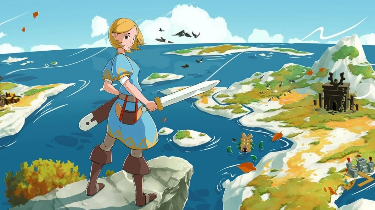 Key art for the game Ocean's Heart, showing the protagonist overlooking a landscape.