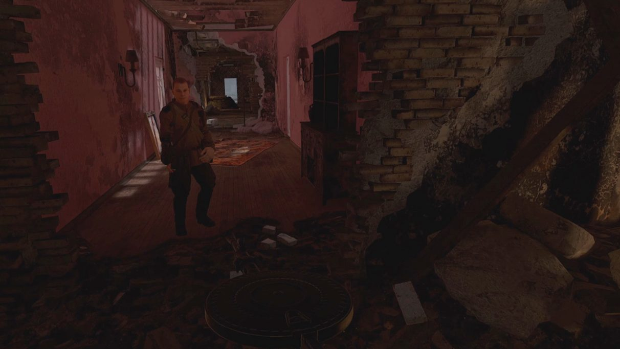 A screenshot of a WW2 soldier standing in the rubble of Stalingrad from the game Pavlov VR.