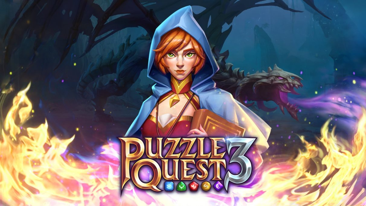 Key art from Puzzle Quest 3, showing a red headed woman in a cloak in front of a logo.