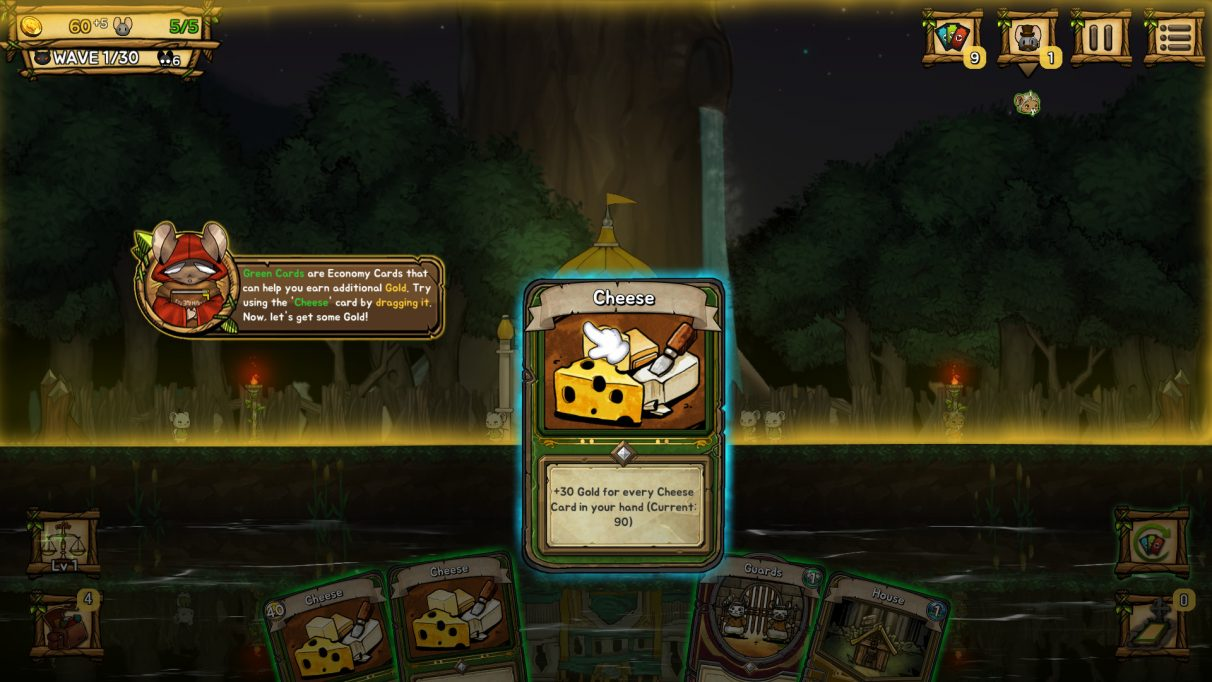 "A screenshot of Ratropolis, showing a card named ""Cheese"" being held over a 2D background of rats milling around."