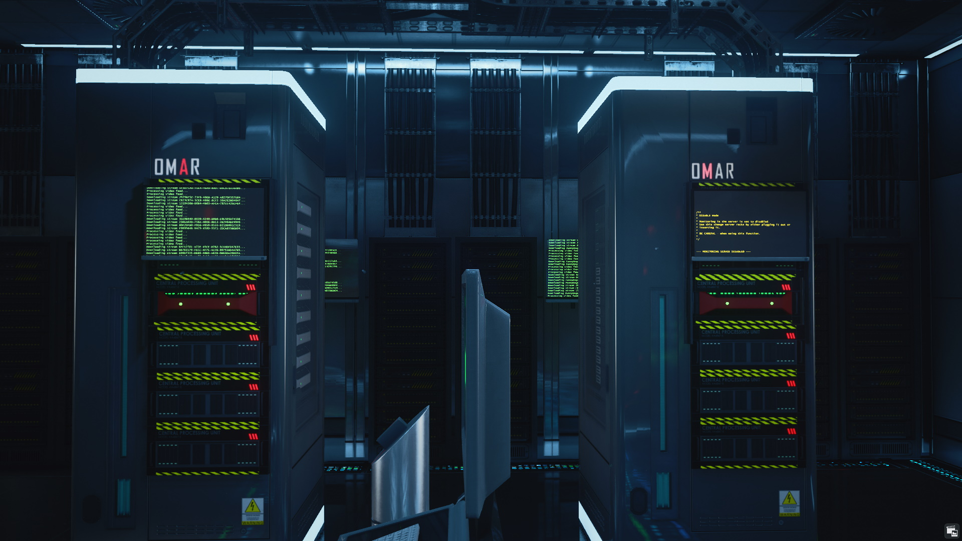 Two server racks in Hitman 3's Dubai server room. The right hand one has yellow text, the left green.