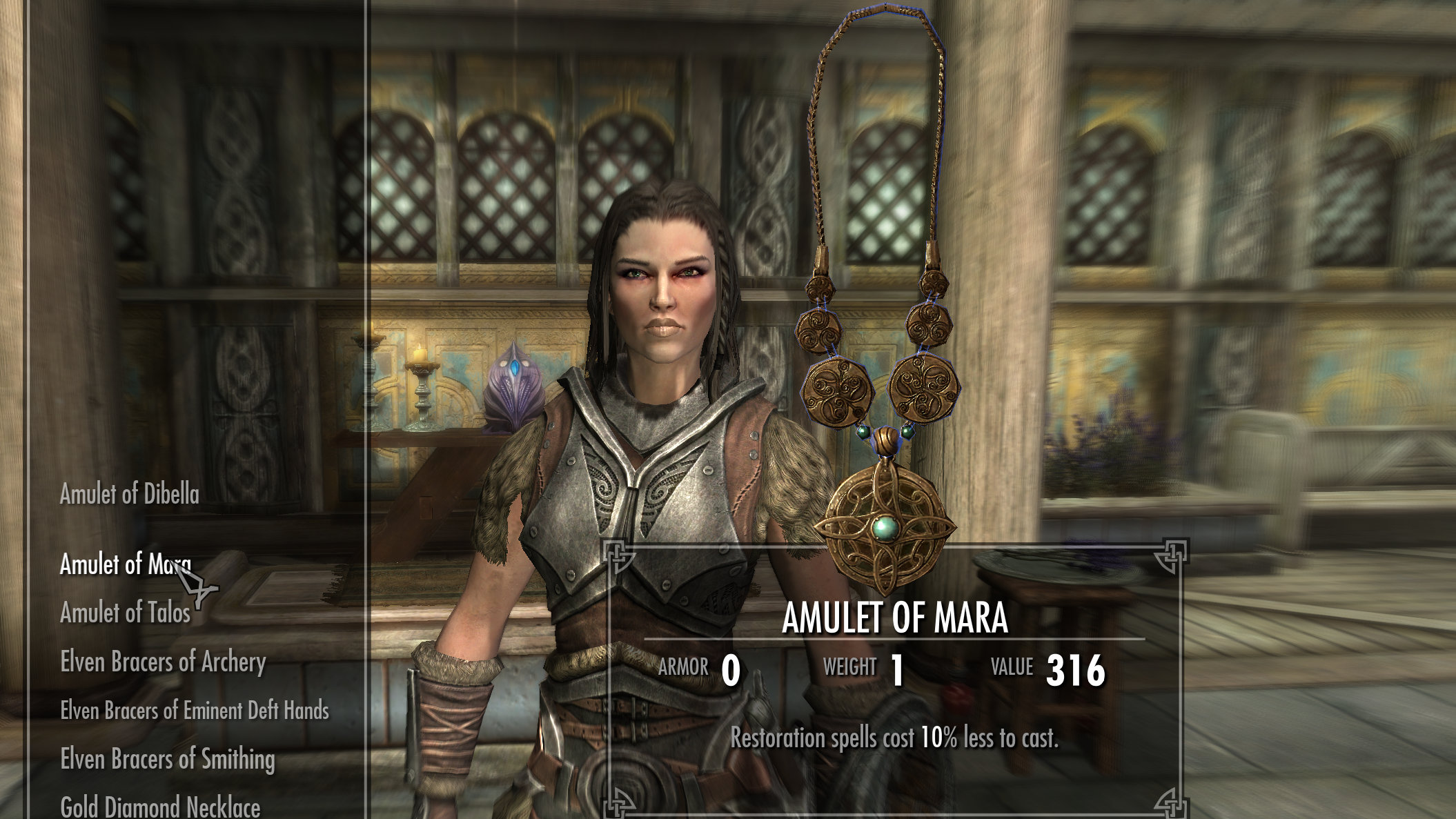 An Elder Scrolls V: Skyrim screenshot showing an Amulet of Mara.