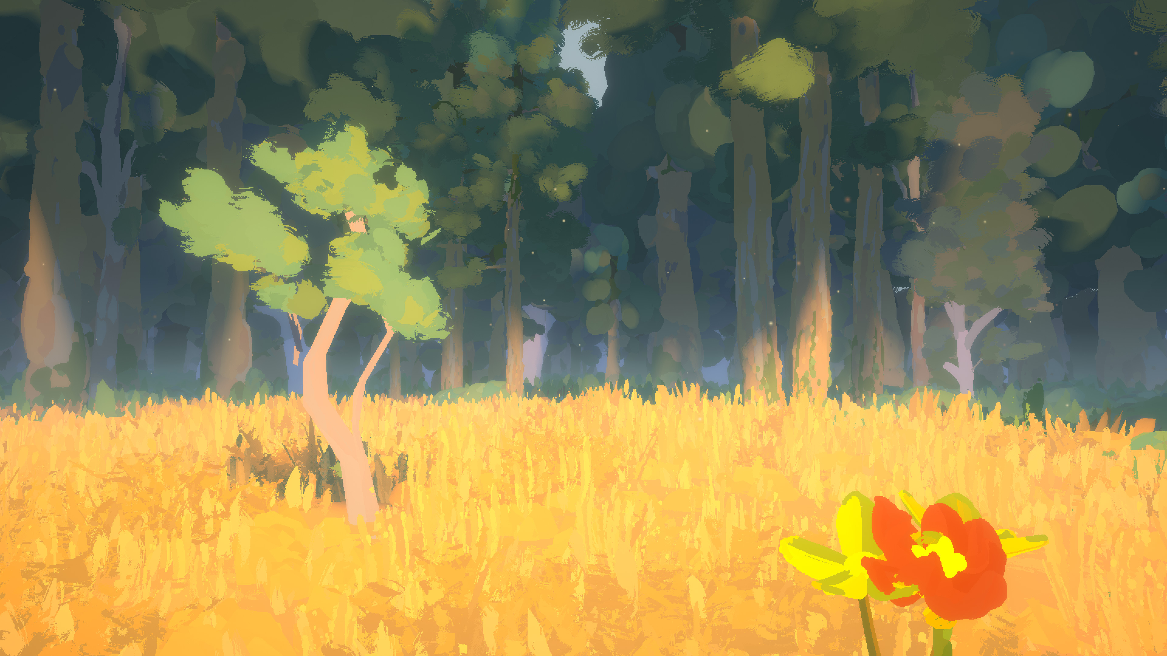 A screenshot from Sunlight that shows a tree in the distance and some flowers up close in the bottom right-hand corner