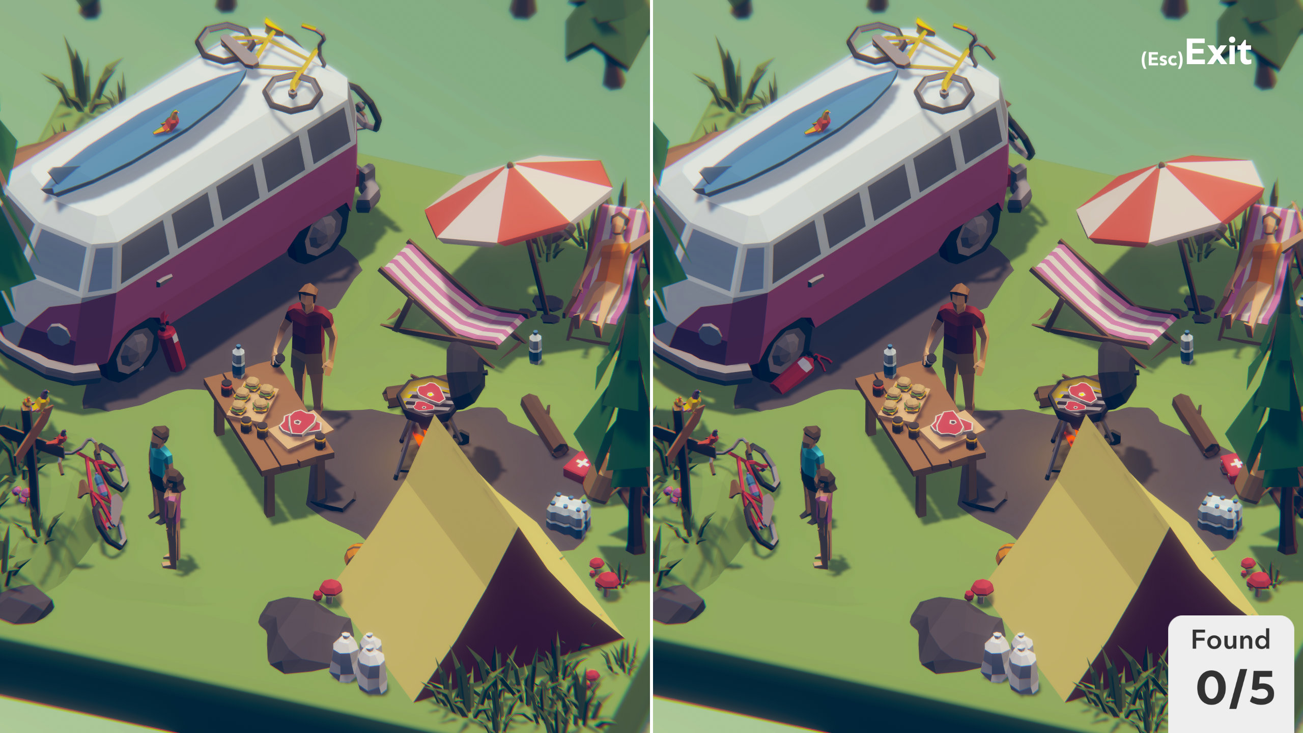 Two near-identical camping scenes side-by-side in a screenshot from Tiny Lands.