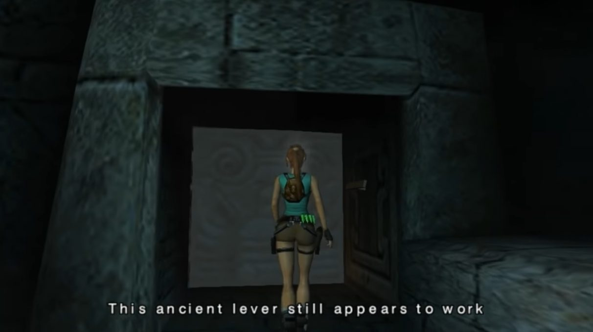 """A screenshot showing Tomb Raider Anniversary Edition, a cancelled Tomb Raider game now playable. Lara Croft in the center of the screen says, """"This ancient lever still appears to work."""""""