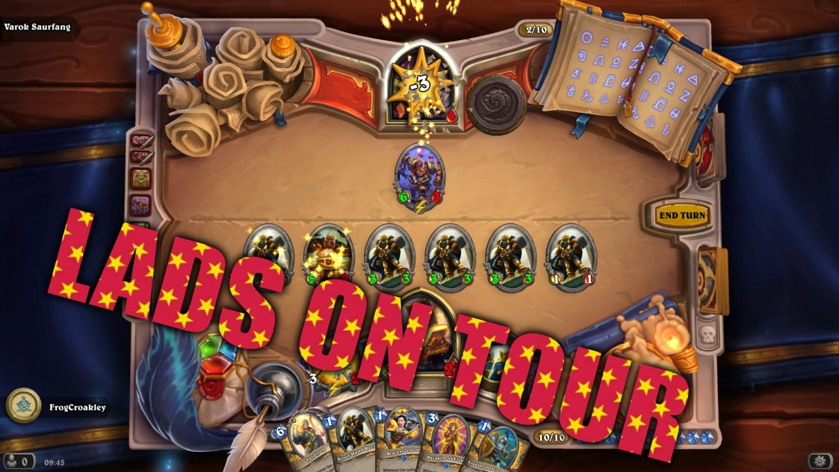 A line of silver hand recruits smashes an enemy to pieces in a game of Hearthstone, with a big caption saying LADS ON TOUR.