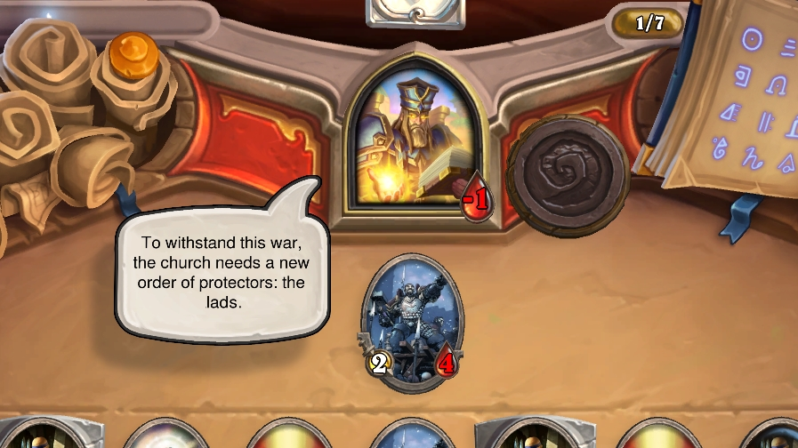 Uther's mentor, a wizened old priest, demands the formation of a holy order of lads.