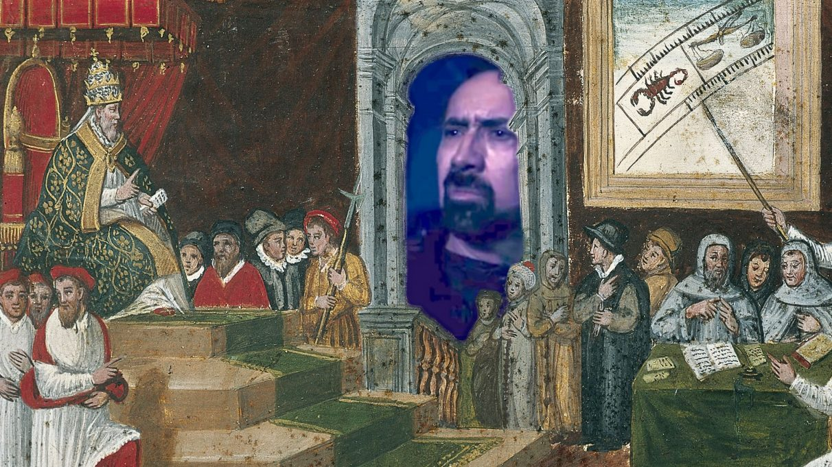 A rough photoshop of Nic Cage, staring in bafflement through the window arch of a medieval pope's throneroom