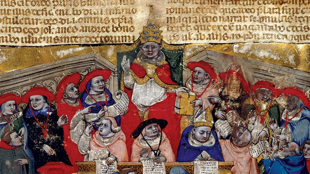 A medieval illustration of a pope