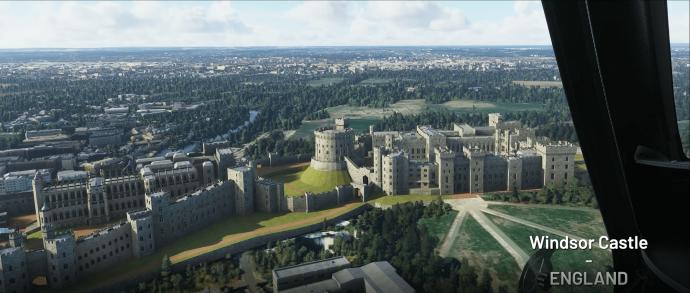A screenshot of Windsor castle in Microsoft Flight Simulator.
