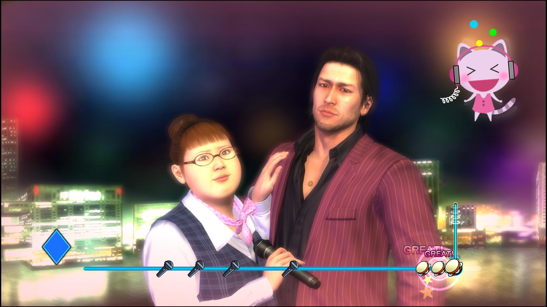 Akiyama and Hanna perform some karaoke together.