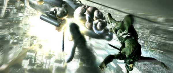 The game opens with him surviving falling from a transport plane by doing a forward roll. It's quite the thing to see.