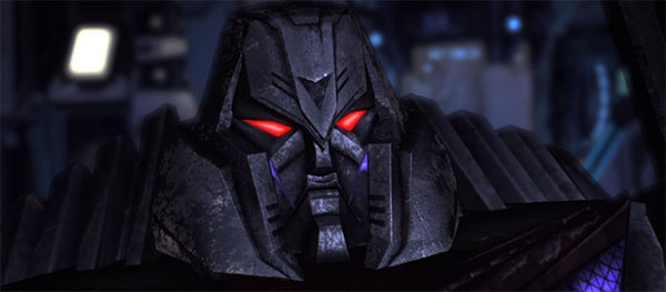 Oh look, they've made Megatron's head into the Decepticon logo. That's not canon, etc
