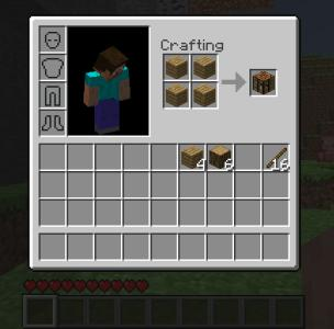 STEP FOUR: Place...  STEP ONE: Open inventory.  Craft logs into wood.
