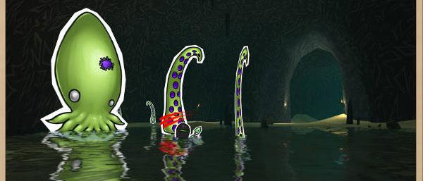 Die-cut of the tentacle