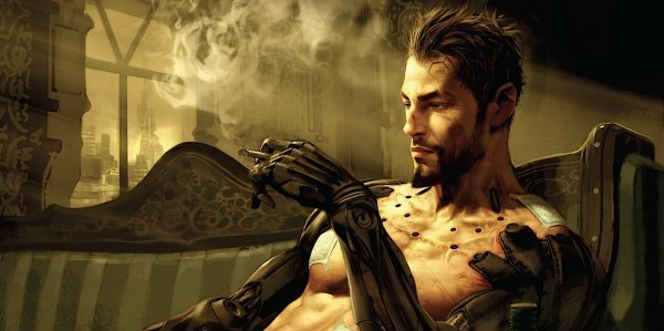 Adam Jensen enjoying a refreshing cigarette.
