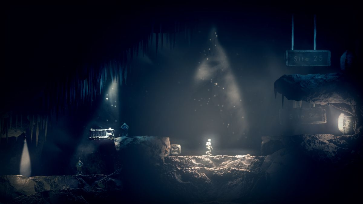 A lonely astronaut exploring a cavern