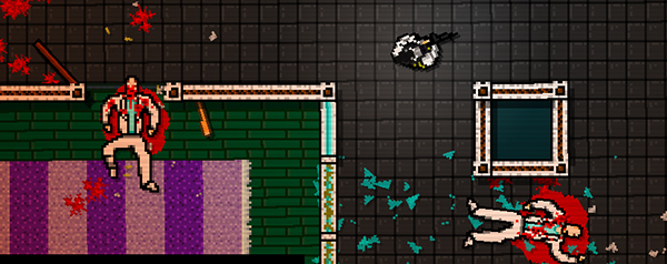 Unfortunately, there aren't any pictures of Hotline Miami's main character aiding someone.