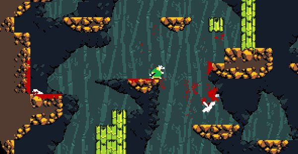 Samurai Gunn is also a bit bloodier than Super Smash Bros. Which is to say the blood is existent and not made of coins.
