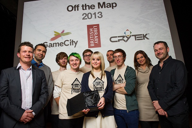 The winners, Pudding Lane Productions, and organisers, Keith Stuart of The Guardian, Crytek, and Tom Harper of the British Library