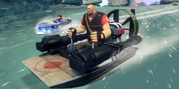 Naturally, Heavy's boat is propelled by miniguns.