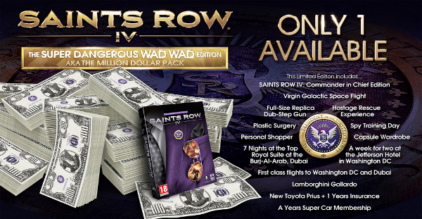Saints Row 5's special edition will allow you to buy your way into actual Presidency. Of Earth.