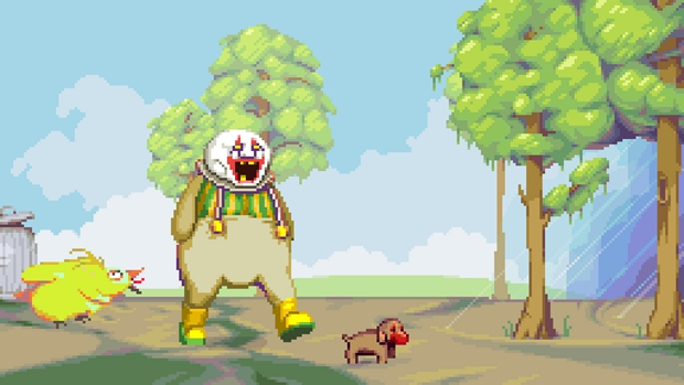 That's clown makeup on the puppy's face. Not, um, blood. Unless Dropsy's clown makeup is made of blood, which is entirely possible.