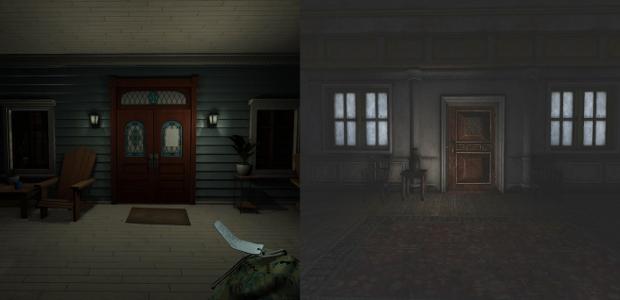 On the left: 'Ahhhhhhh, finally home!' On the right: 'DON'T GO IN THERE DON'T GO IN THERE DON'T GO'