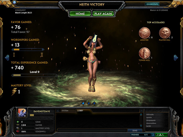 Neith has many skills, none of which are victory dancing
