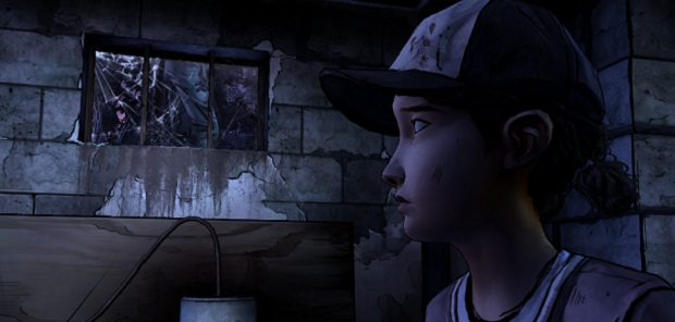 To avoid spoilers, most of these screenshots are images of Clem looking at things. Here she is looking at a window that is a bit purple.