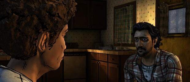 Clem wearing a chequered shirt, wig and Big-Eyed Benicio Del Toro Halloween mask while looking at a lady.
