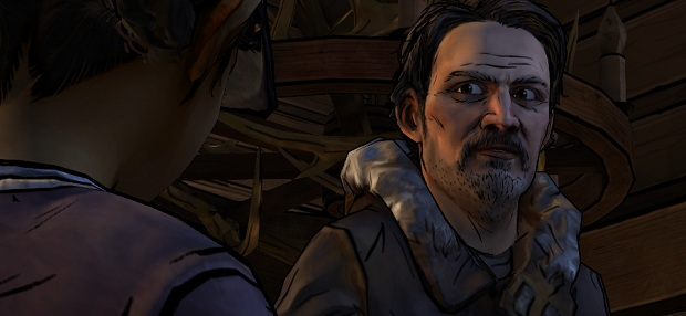 This looks like a picture of a man with a moustache looking at Clem but it's actually a picture of Clem looking at a man with a moustache.