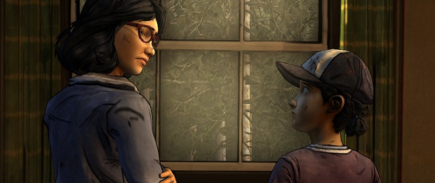 Clem looking at a girl who is wearing glasses.